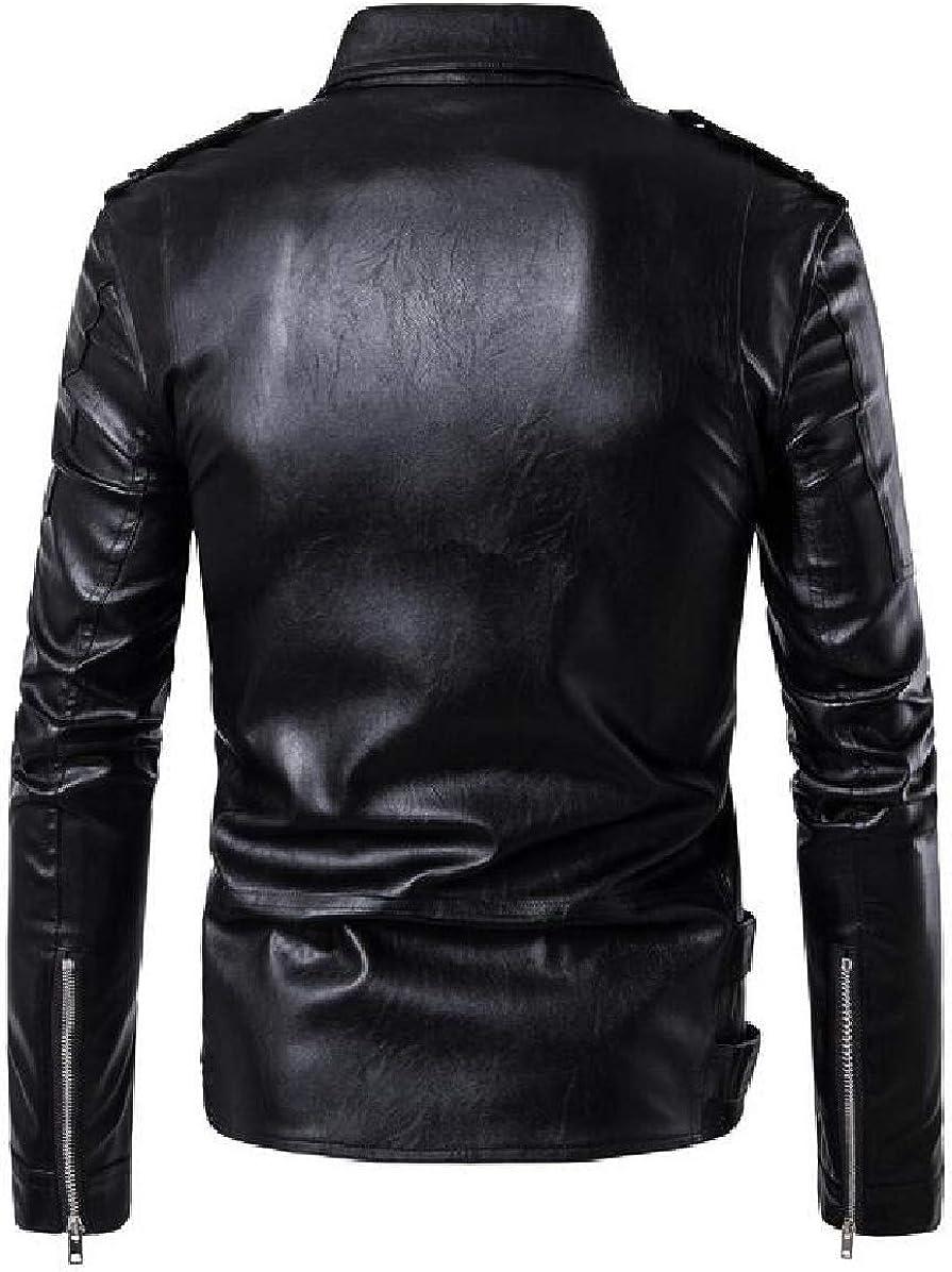 ONTBYB Mens Oblique Zipper Lapel Rock PU Slimming Moto Jackets