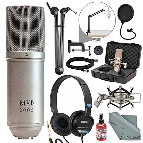 MXL 2006 Large Diaphragm Condenser Microphone Deluxe Broadcasting Bundle with Headphones + Mic Sanitizer + Pop Filter + Cable + Fibertique Cloth + More ()
