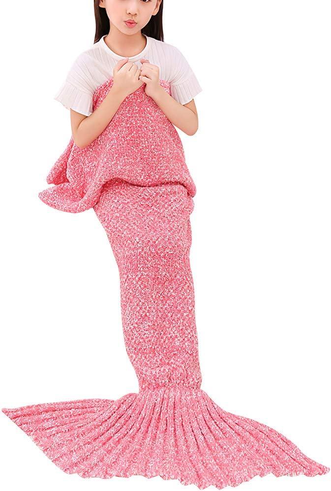 rismart Niña Mantas de Cola de Sirena Hijo Bolsa de Dormir Envolver Hecho a Mano Tejido Usable Edredón(70 x 140 cm,Rosa)