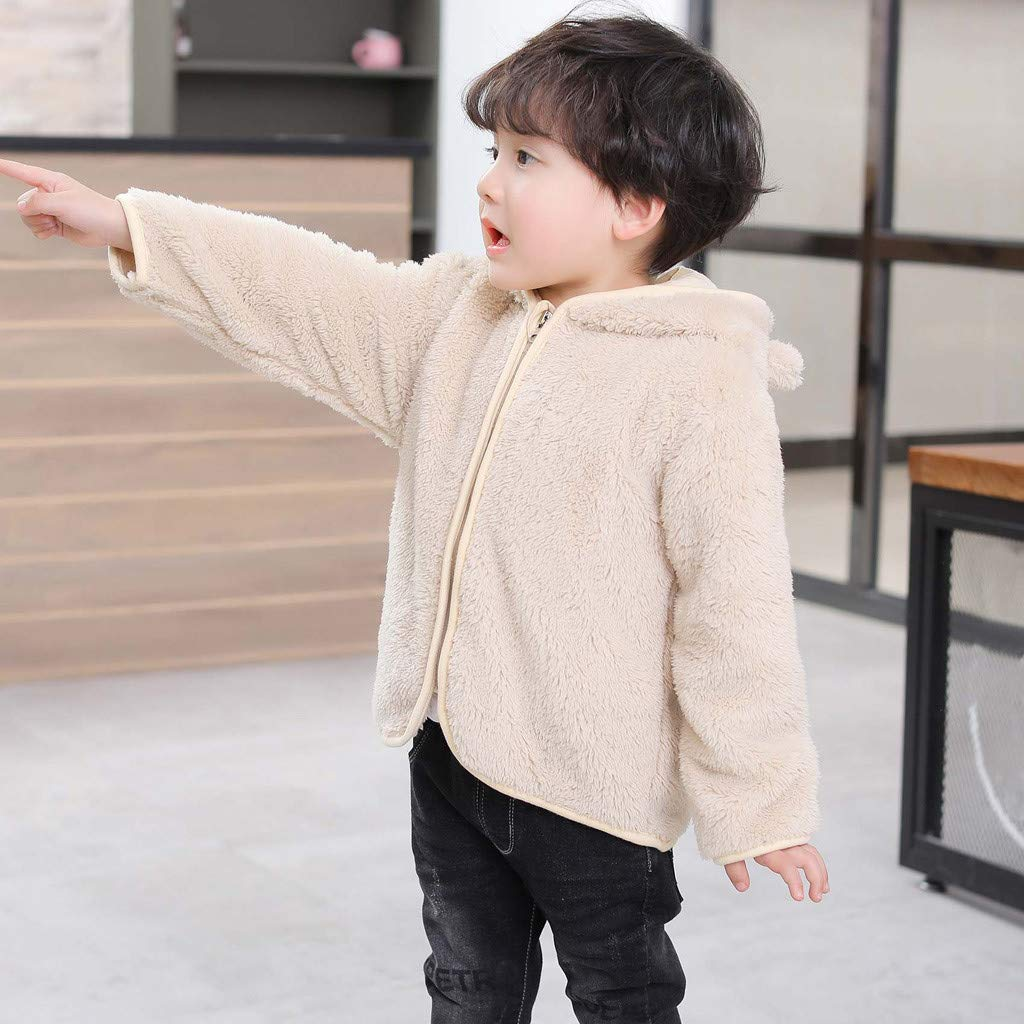 Toddler Kids Baby Gril Boy Cute Ear Zipper Solid Thick Hooded Coat Warm Outwear Baby Fur Coat Down Jacket Hoodies for Girls