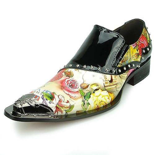 93198a859c7 Fiesso by Aurelio Garcia FI-6864 Black Roses Slip on Loafer Metal Tip -  European