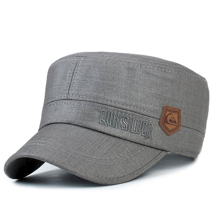Sombrero/Hombres planos casquillos ocasionales en el otoño/Gorra militar/ sombrero al aire libre más vieja/gorra/Gorro de Papá-A ajustable: Amazon.es: Ropa ...