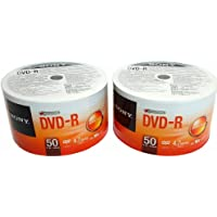 Sony 100 DVD-R 16X 4.7GB Recordable Blank Media Disc Wrap with Full Logo Surface - Pack of 2 x 50