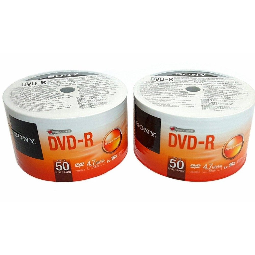 100 Sony DVD-R 16X 4.7GB Recordable Blank Media Disc Wrap Full Logo Surface 2x50 Pk