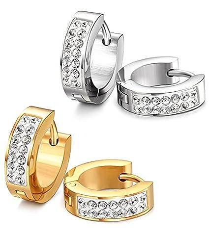 6d11eb51b Amazon.com: Stainless Steel Womens Mens Hoop Earrings Huggie Earrings CZ Piercings  Hypoallergenic 18G (2pair GOLD&SILVER): Arts, Crafts & Sewing