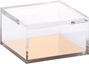 OfficeGoods Acrylic and Gold Odds & Ends Box 5 Inch with Lid – Organize, Display, Store or Stack - for the Home or Office - Multi Purposed for Any Room - (Large)
