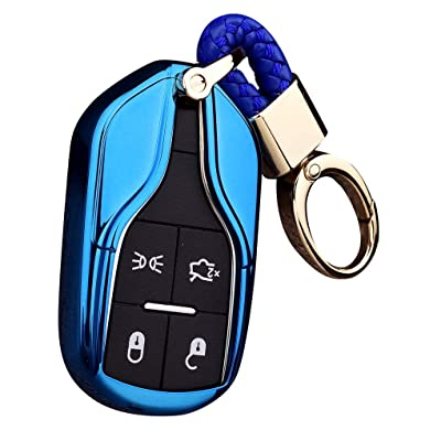 Royalfox(TM Luxury Soft TPU Smart 4 Buttons Key Fob case Cover for Maserati Levante GT Quattroporte Ghibli (Blue): Automotive