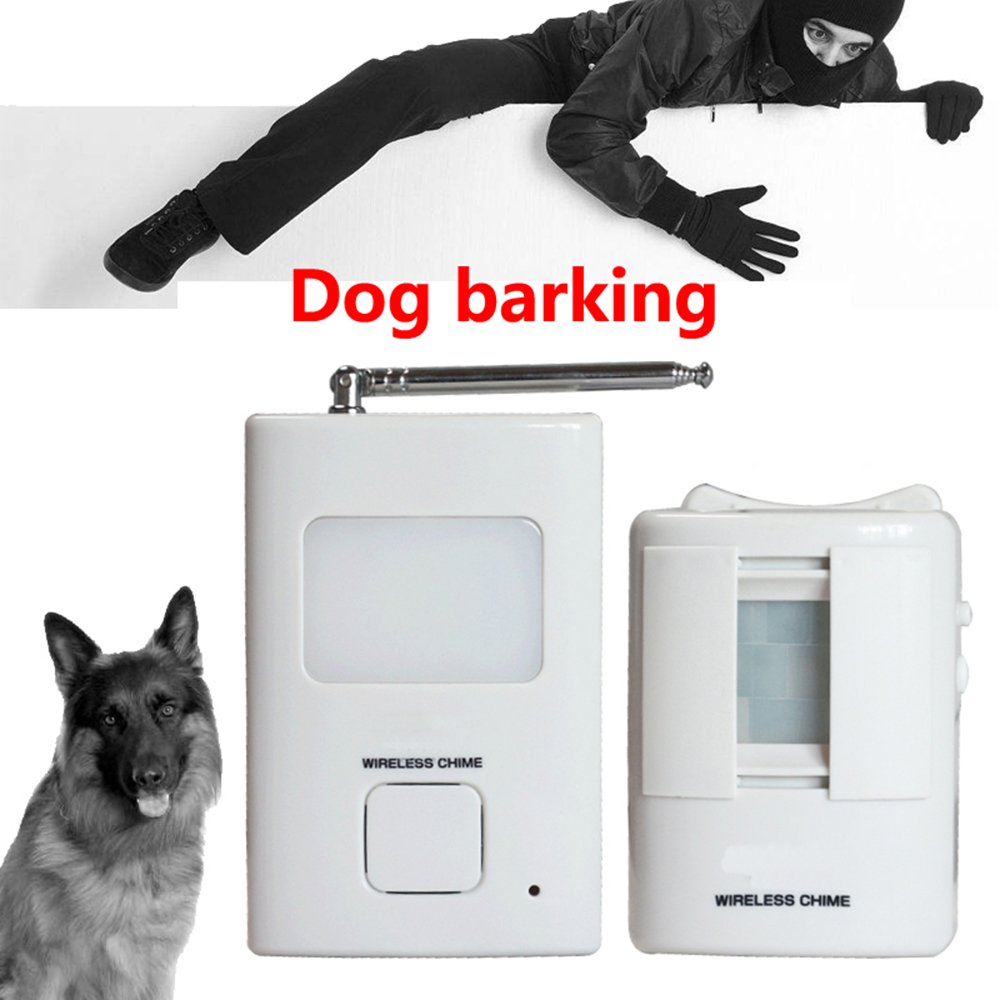 S SELDORAUK Dog Barking PIR Motion Detector - Alarm Wireless Human Body Sensor Home Security 1Receiver and 1 Sender Waterproof Alert System for Home or Office Auto DialerSeldorauk (Pack of 1)