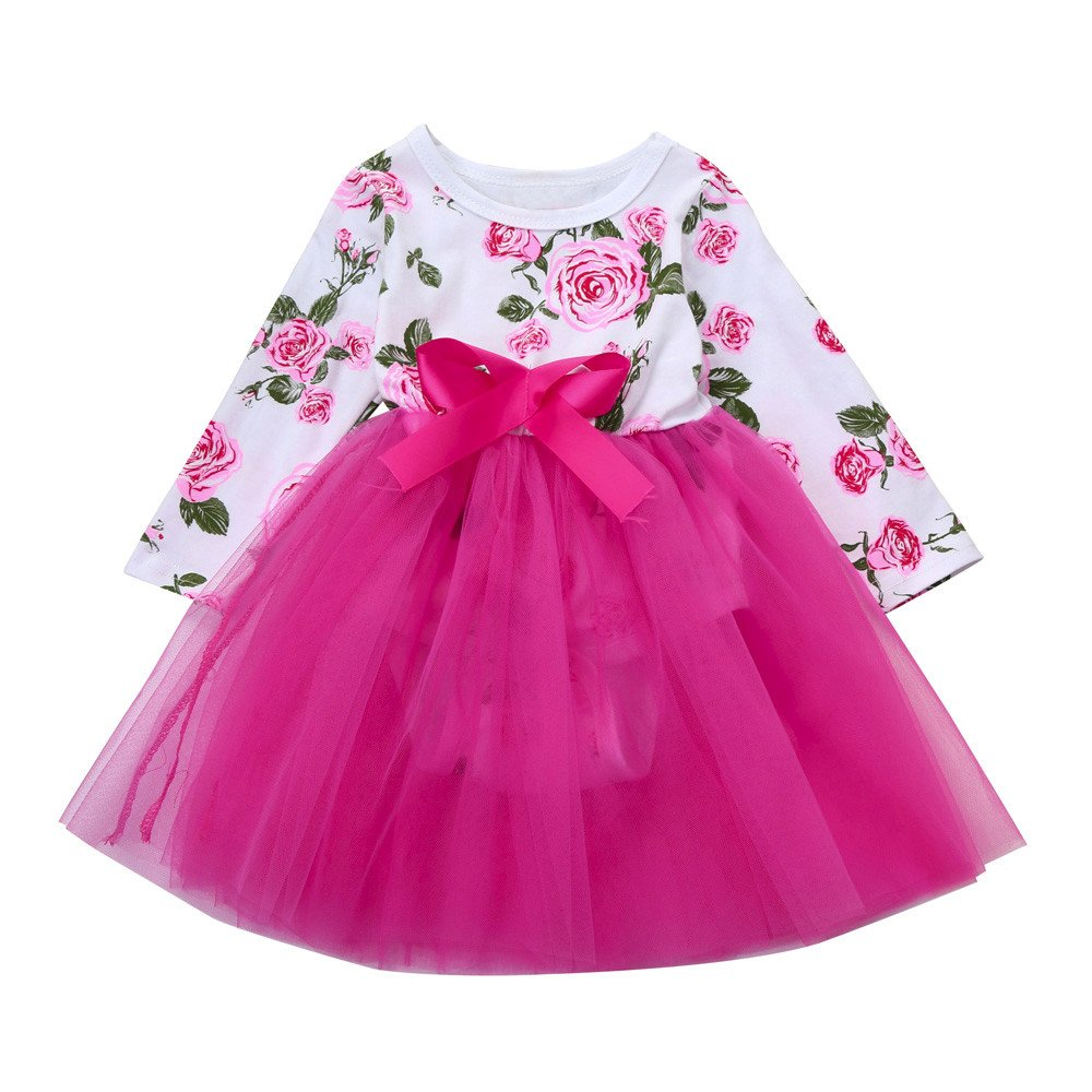 squarex Sunny Baby Girls Floral Lace Princess Tutu Romper Dress Outfits Clothes