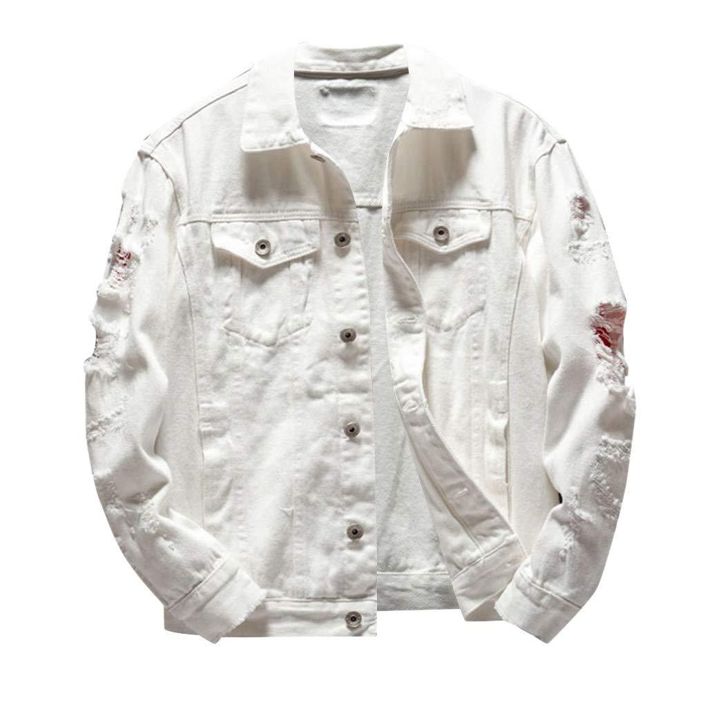 Ultramall Long Sleeve Men's Long Sleeve Autumn Winter Casual Turn-Down Collar Denim Jacket Coat
