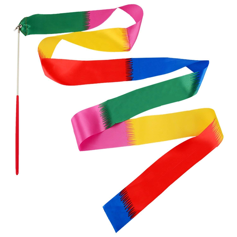 Yoogeer 2M Dance Ribbon Gym Rhythmic Art Gymnastic Ballet Streamer Twirling Rod 16 Color