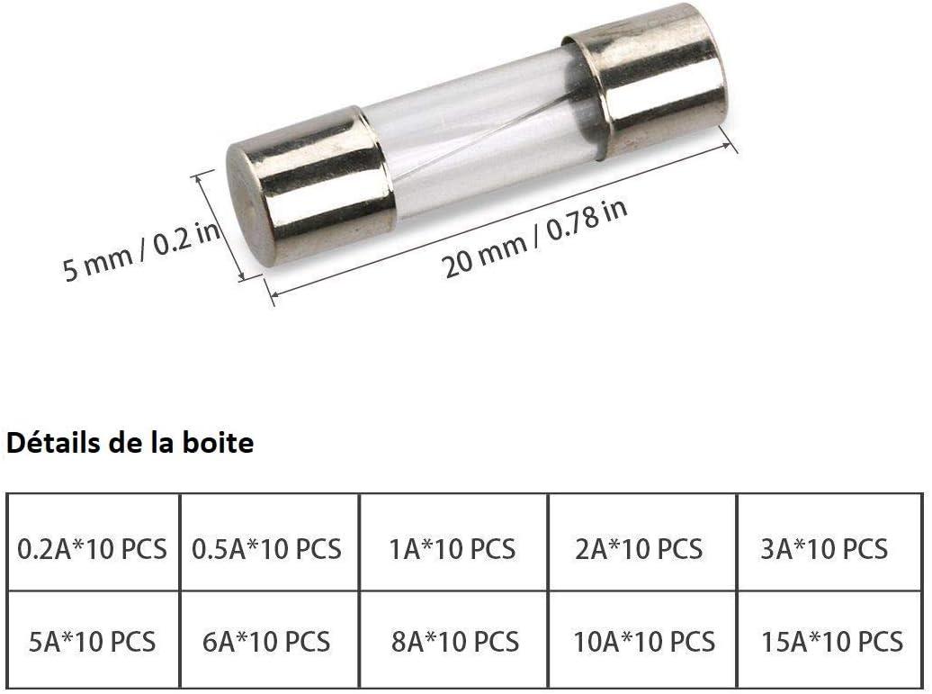5x20mm Boite de 100 Pi/èces Fusible Verre 0,2A 0,5A 1A 2A 3A 5A 8A 10A 15A 20A