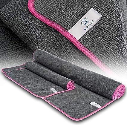 Vesaris ARBrend Non-Slip Yoga Towel Set 2 Pieces – Big & Small Pilates Fitness Gym Microfiber Yoga Towels – Hot Soft XL & Hand Yoga Towels with Eco ...
