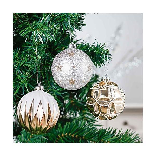 Valery Madelyn Palle di Natale 16 Pezzi 8cm Palline di Natale, Eleganti Ornamenti di Palle di Natale Infrangibili in Oro e Bianco per la Decorazione Dell'Albero di Natale 4 spesavip