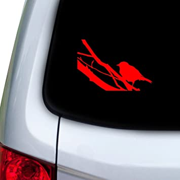 Doors StickAny Car and Auto Decal Series Three Birds Branches Sticker for Windows Red Hoods
