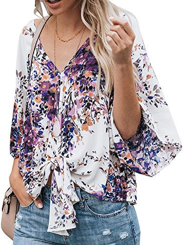 al Chiffon Short Bat Sleeve Deep V Neck Tie Knot Front Summer Blouses (Women Dolman Sleeve)