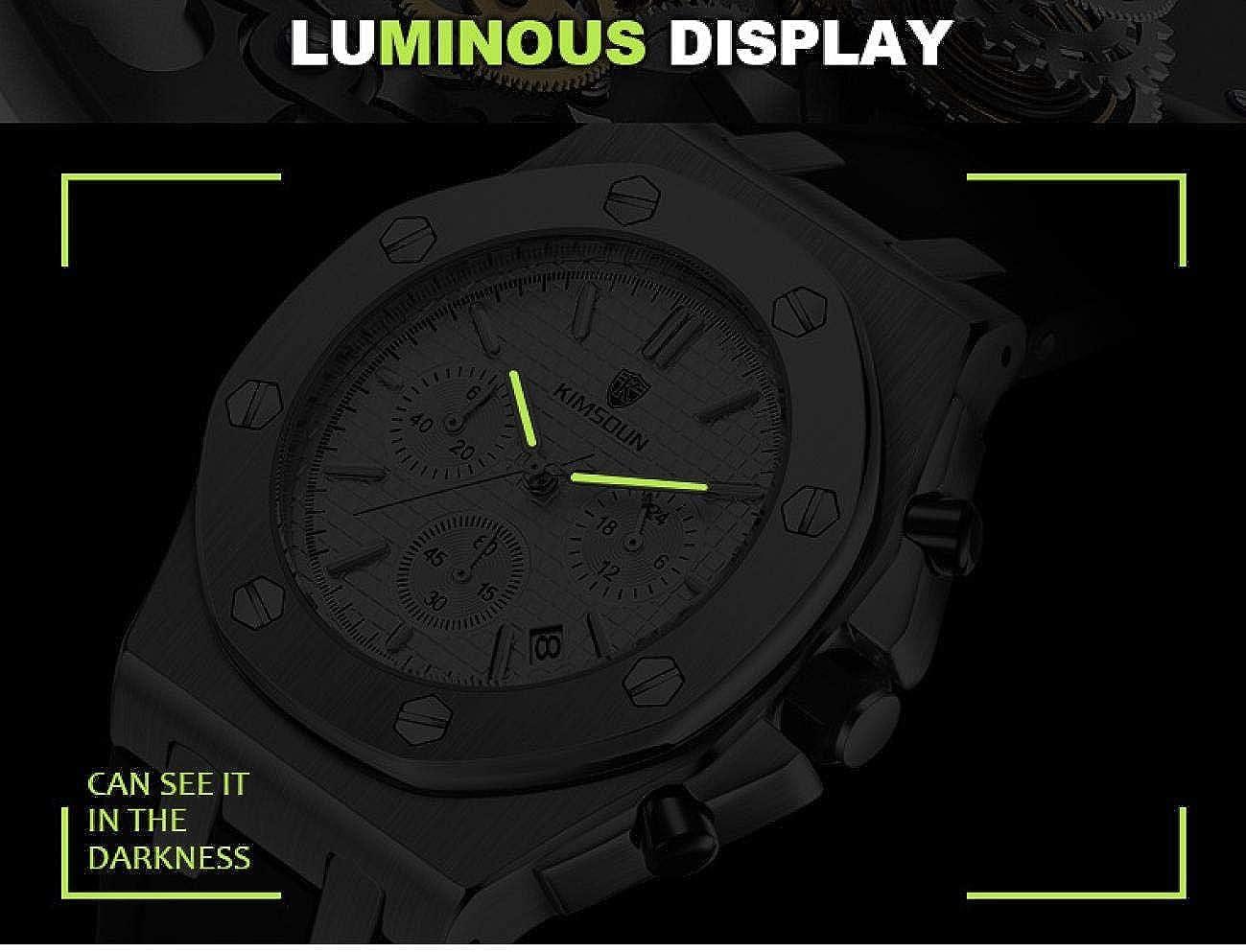 Montres Bracelet,3 Yeux 6 Mains Chronographe Bracelet en Silicone Montre À Quartz Calendrier Étanche F
