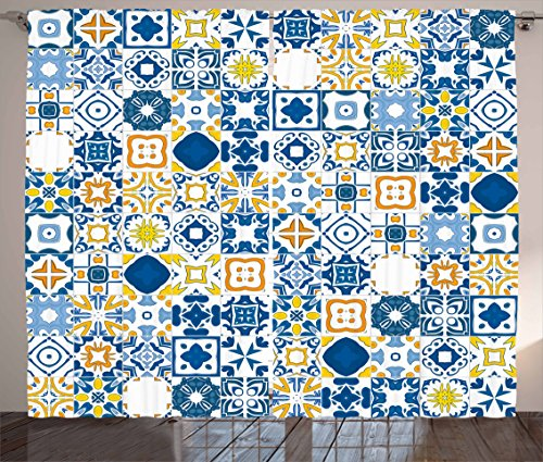 Ambesonne Yellow and Blue Curtains, Mosaic Portuguese Azulejo Mediterranean Arabesque Effect, Living Room Bedroom Window Drapes 2 Panel Set, 108 W X 84 L Inches, Violet Blue Mustard White