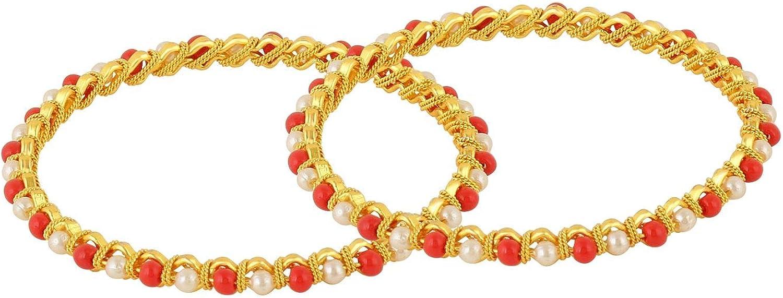 Efulgenz Fashion Jewelry - Juego de Pulseras de Perlas de Coral y Perlas de imitación chapadas en Oro de 14 K para Novia, 2 Unidades