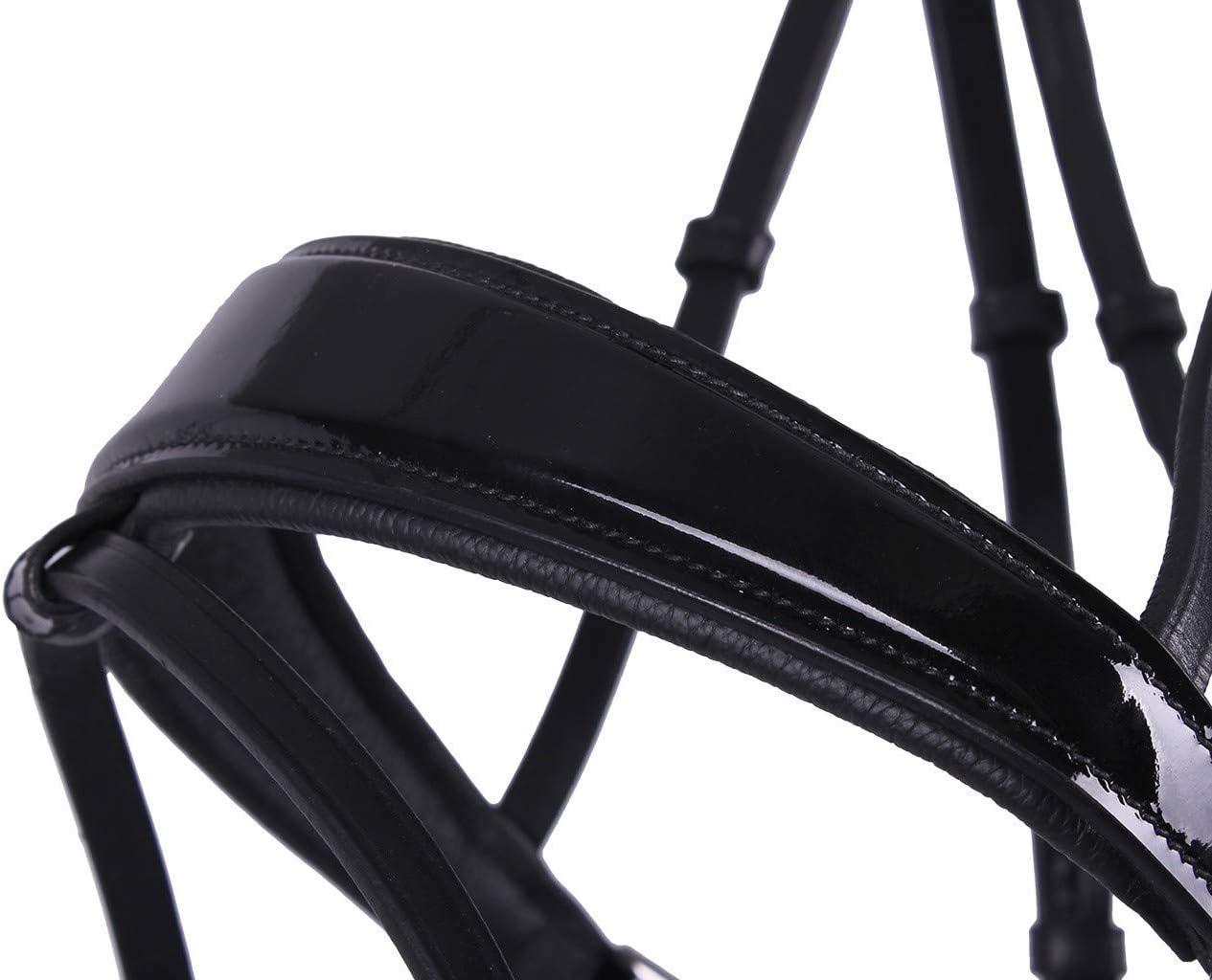 Details about  /QHP Schwedische Trense Shimmer Leder schwarz Stirnriemen mit Strasssteinen