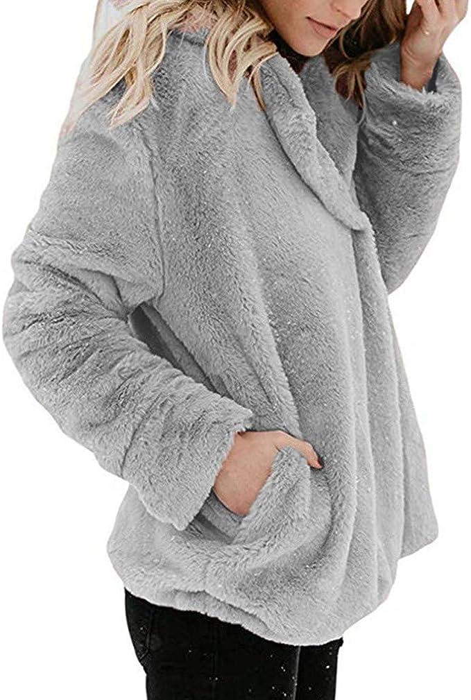 Womens Casual Long Sleeve Color Block Pullover Sweatshirt Fuzzy Fleece Tops Cloudro ❤️ Women Sweater Pullover