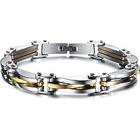 Moneekar Jewels Franco Chain Bracelet Men 18K Gold/Black Gun Plated 17mm/12mm/8mm Wide Hand Chain Curb Bracelets 316L Stainless Steel Mens Bracelet Clasp