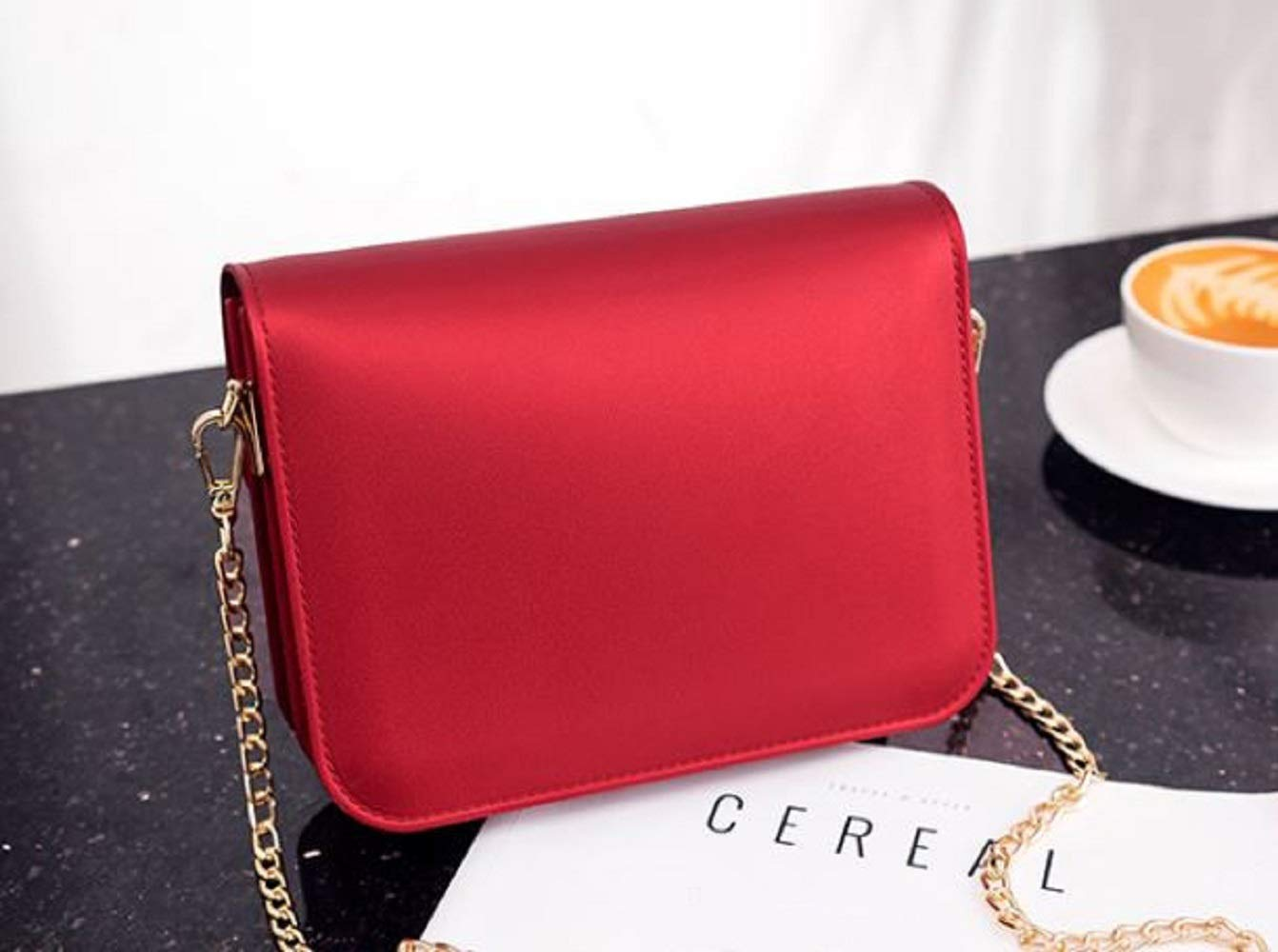 LF-JP PVC Evening bags for women [ Designer Clutch with Chain ] Shoulder Bag Cross body Purse (Red) by LF-JP (Image #7)