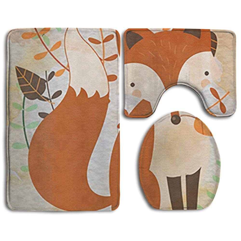 Bath Mat Sets Welcome Fox Leaf Contour Rug U-Shaped Toilet Lid Cover,Non Slip,Machine Washable,3-Piece Rug Set Easier to Dry for Bathroom