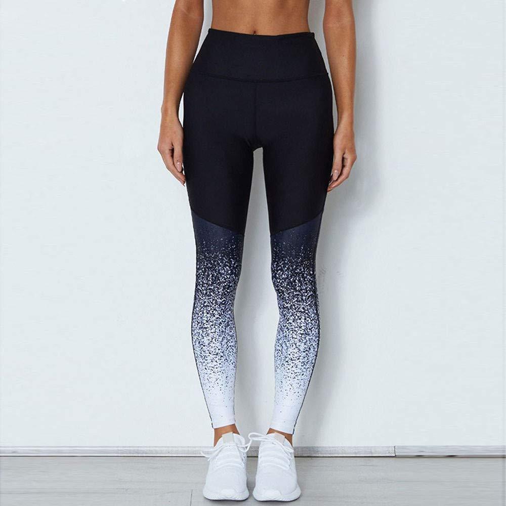 DEEWISH Leggings di yoga da donna stampati allenamento sportivo palestra fitness esercizio atletico pantaloni fitness sport in esecuzione pantaloni di yoga
