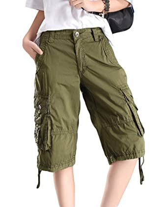 cf9e6afaa1f0 YouPuer Women's Straight Loose Fit Vintage Multi Pocket Short Pants Cotton  Twill Bermuda Cargo Shorts: Amazon.co.uk: Clothing