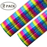 Cocoboo 2 Sheets Rainbow Holographic Stripe Multi Heat Transfer Vinyl HTV