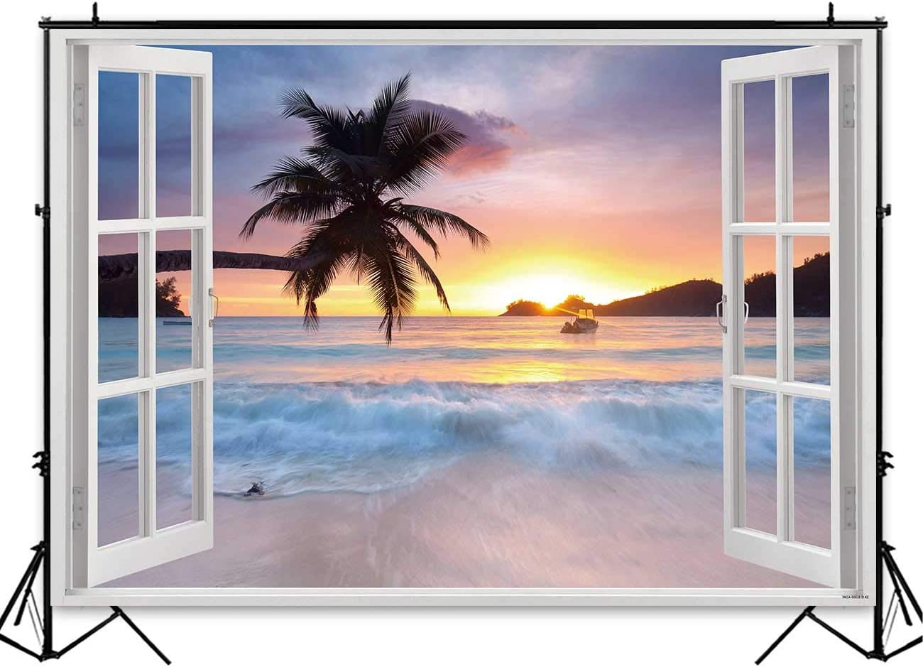 7x7FT Vinyl Photo Backdrops,Pale Blue,Camo Pattern Tropical Background for Selfie Birthday Party Pictures Photo Booth Shoot