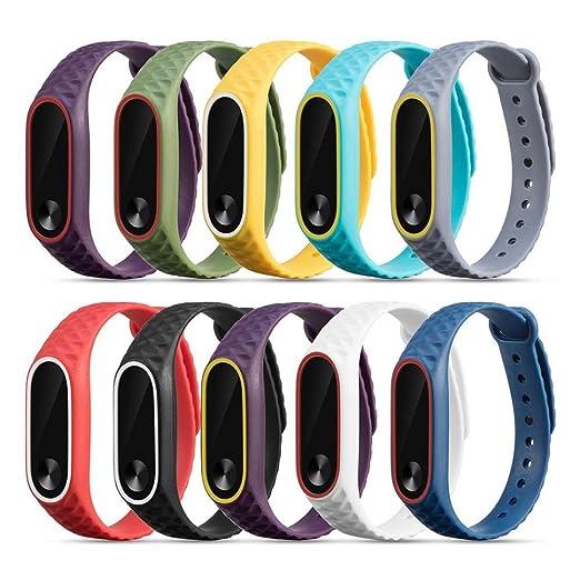 Pulsera xiaomi mi band 2,Reemplazo pulsera de reloj de silicona banda Correa para la muñeca para Xiaomi Mi Band 2 por VENMO (Negro): Amazon.es: Relojes