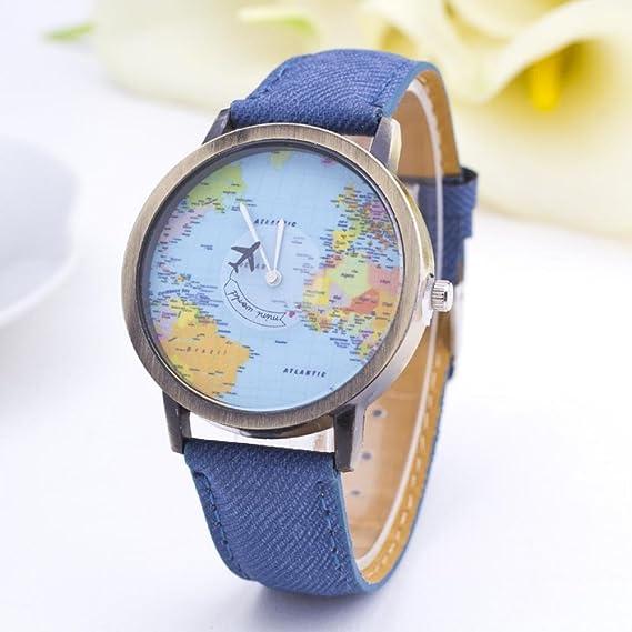 Caja de acero inoxidable reloj de pulsera de regalo de la belleza del mapa del mundo ...