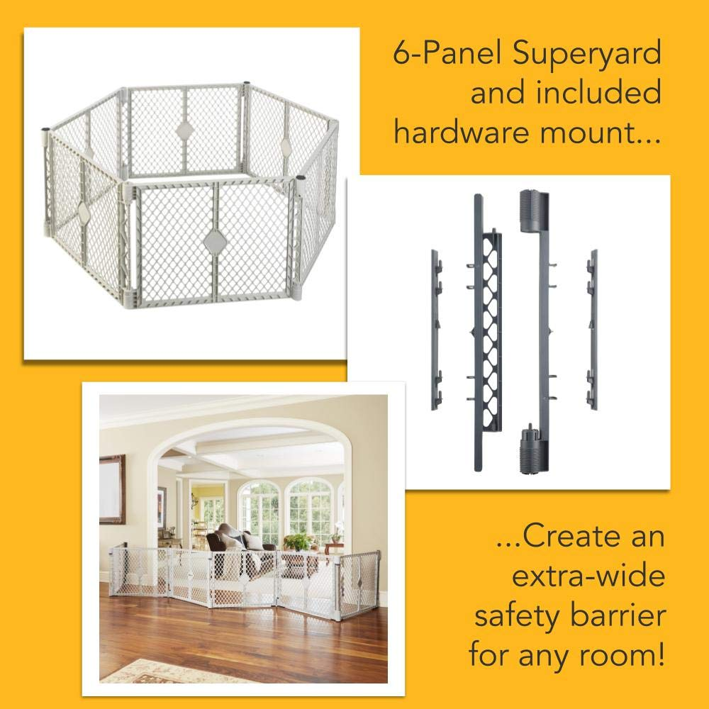 North States Superyard 6-Panel Play Yard Barrier with Wall Mount Kit – 201 Create a safe play area anywhere. Freestanding or Hardware Mount. 38.5 – 201 wide, 18.5 ft. enclosure 26 tall, Gray