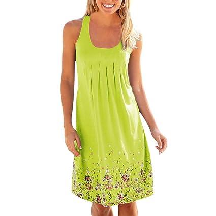 Vestidos Mujer Verano 2018,Mujer vacaciones verano sólido sin mangas fiesta playa vestido LMMVP (