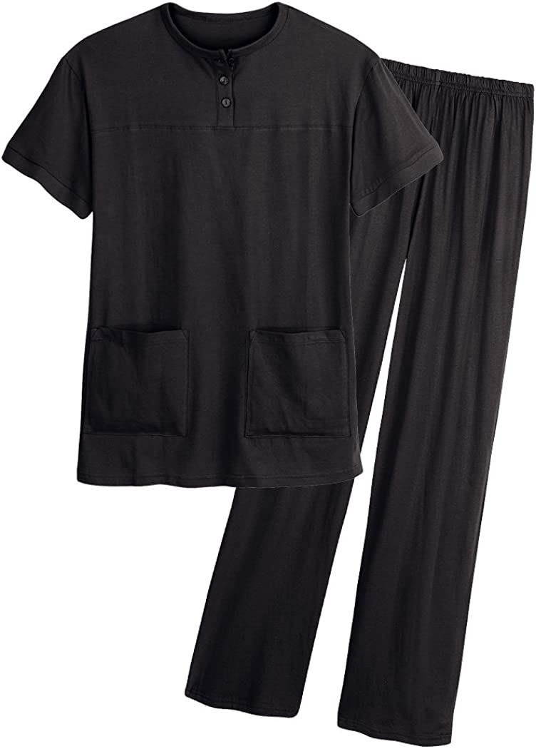 AmeriMark Womens Henley Pantset Pullover Short Sleeve Top and Long Pull On Pants