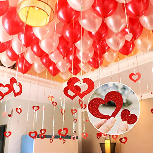 Silver Foil Fringe Tassel Curtain and Red Heart Shaped Cutouts Confetti Balloon Pendant Hanging String for Birthday Wedding Anniversary Party Decorations 100 PCS