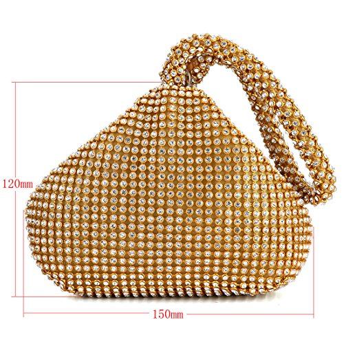 Women Design Handbag Gold Evening Purse for Rhinestones Wedding Clutch Triangle Party Prom I7I0Urnx