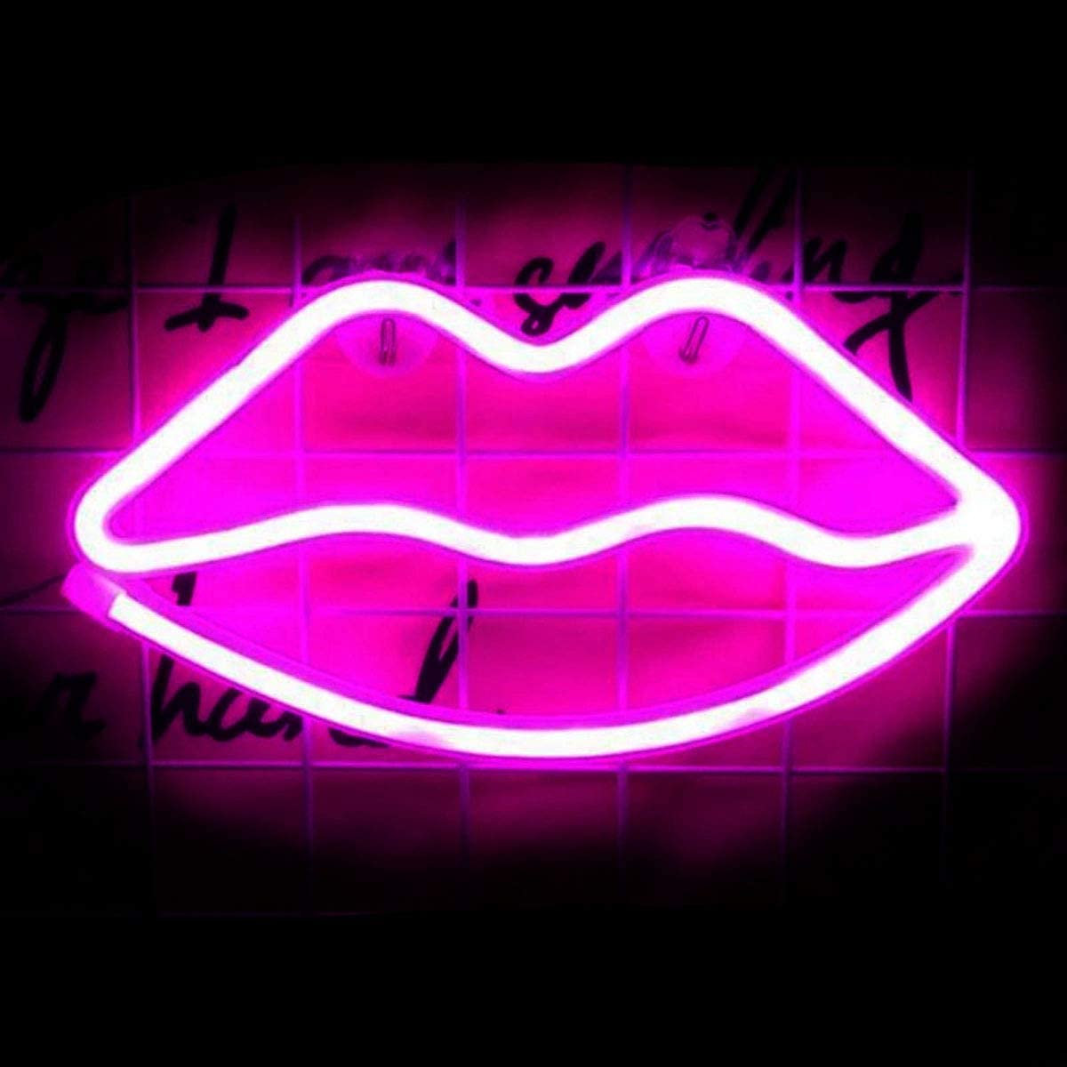 LED Neon Signs Lip Shaped Art Decorative Lights for Home Party Bar Pub Hotel Beach Recreational, Valentine's Day, Christmas (Lip-Pink)