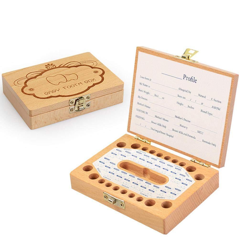 Jannyshop Caja de Dientes de Leche de Madera Caja de Memorizaci/ón Colecci/ón Almacenamiento de Dientes para Beb/é Ni/ños
