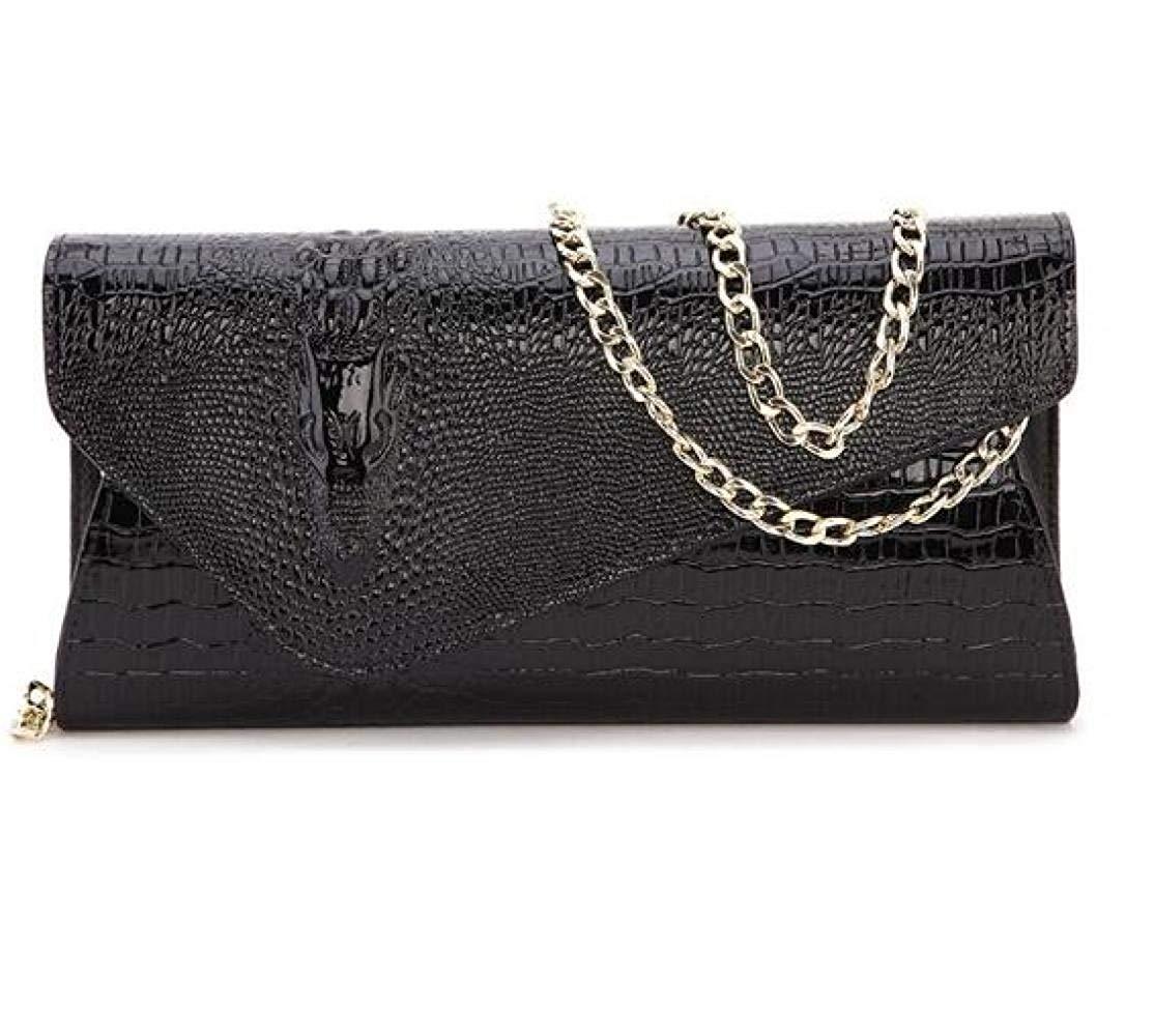 Ladies Handbag Lady Chain Bag Clutch Clutch Evening Bag Crocodile Pattern (color   Black, Size   One Size)