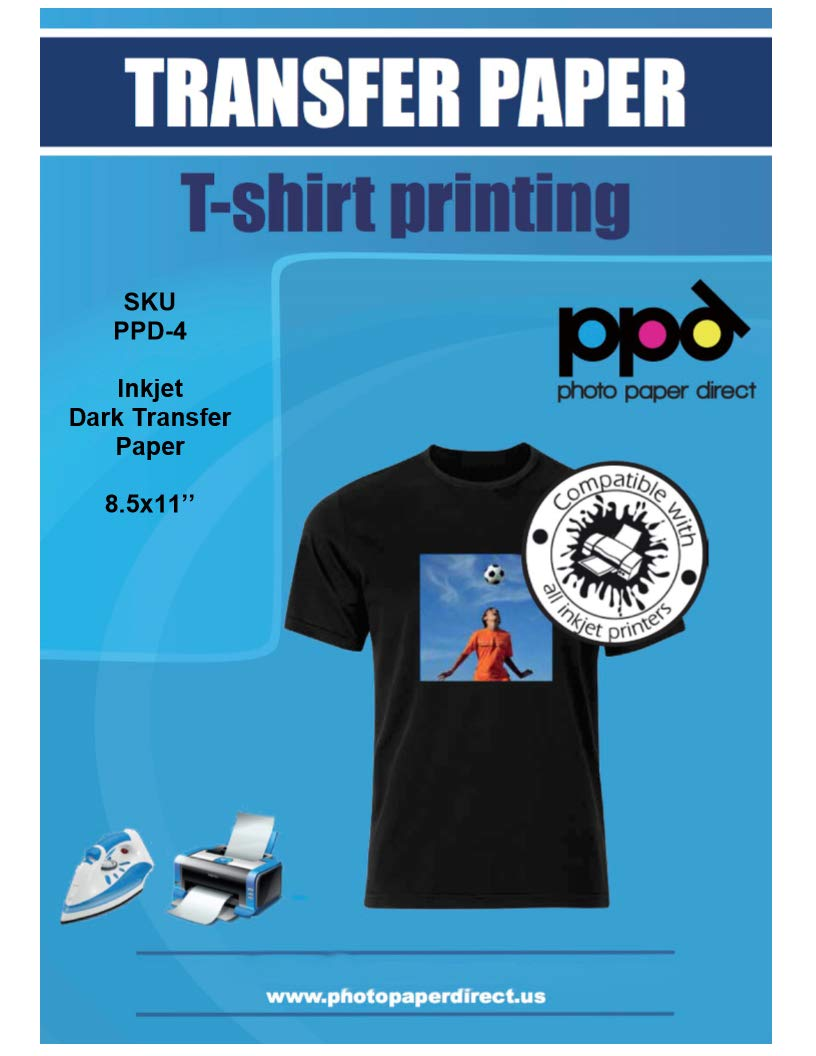 PPD Inkjet Iron-On Dark T Shirt Transfers Paper LTR 8.5x11'' pack of 20 Sheets (PPD004-20)