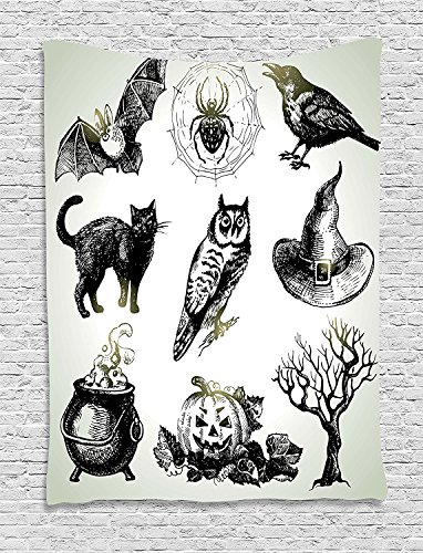 asddcdfdd Vintage Halloween Tapestry, Halloween Related Pictures Drawn by Hand Raven Owl Spider Black Cat, Wall Hanging for Bedroom Living Room Dorm, 60 W X 80 L Inches, Black (Halloween Related Photos)
