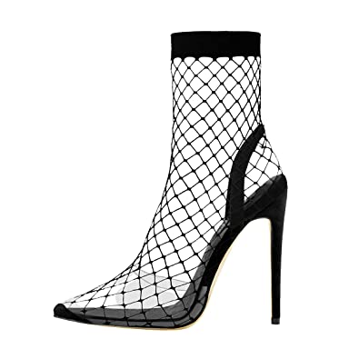 6b59f21488c Onlymaker Clear Fishnet Stocking Pointed High Heels Sandals