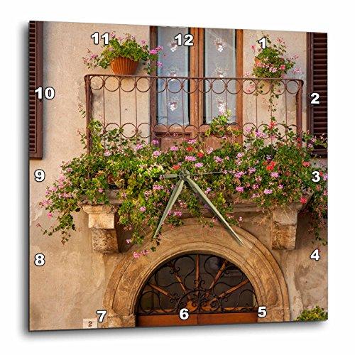 3dRose dpp_208758_2 Flowers on Home in Piezna Tuscany Italy Wall Clock, 13