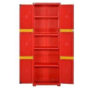Nilkamal Freedom Mini Large (FML) Plastic Storage Cabinet (Bright Red & Yellow)