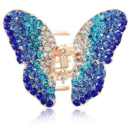 Beautiful Bead Mini Crystal Rhinestones Butterfly Hair Jaw Clip Barrette Hair Beauty Tools Blue