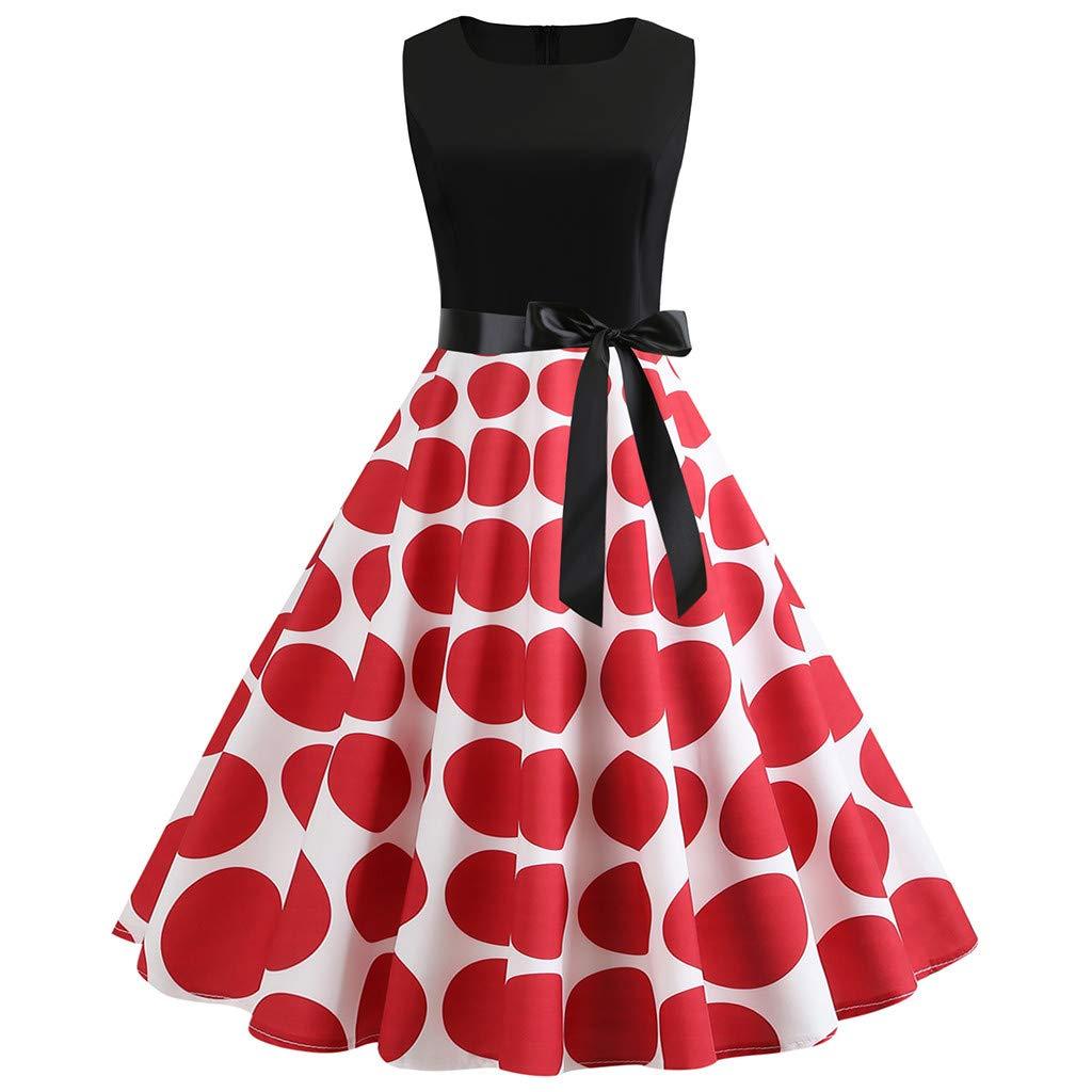 1950er Vintage Rockabilly Kleider Dasongff Armellos Rundhals Punkte Gepunkte Cocktailkleid mit Bow Gürtel Knielang Lange Partykleid Sommerkleid