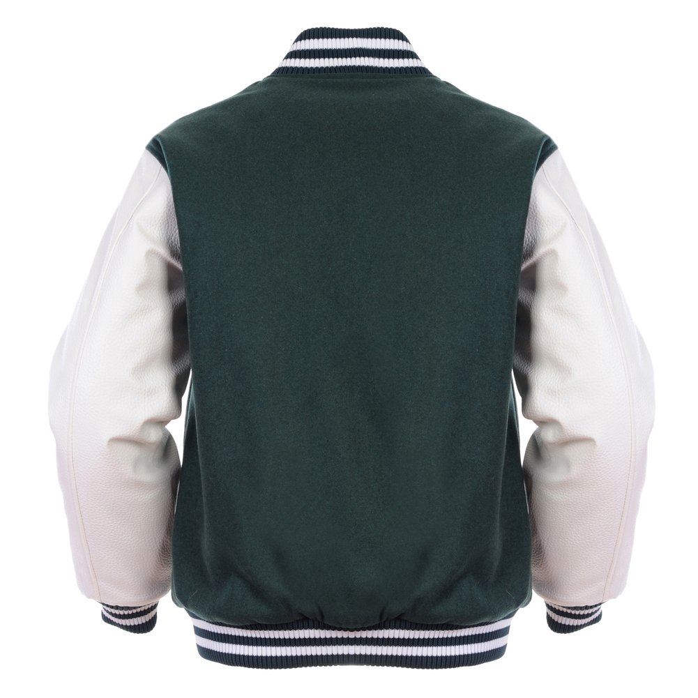 2cc6efc516a0d Angel Cola Green & White Retro Varsity Wool & Synthetic Letterman ...